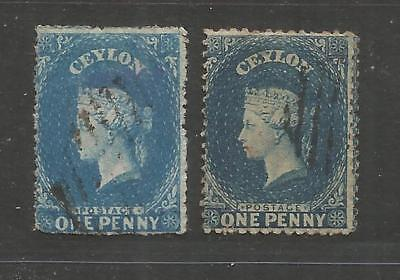 NOV 005 British Colonies - CEYLON Queen Victoria ONE 1 Penny blue USED stamps $