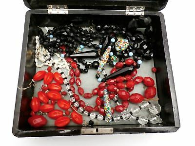 Vintage  Glass Bead Necklaces Red Jet Millefiori Beads Pearls Mix plus Box Lot