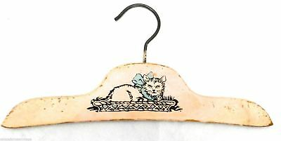 Vintage Wooden Clothes Hanger Childs Kitty Cat Kitten Sweet Shabby Adorable