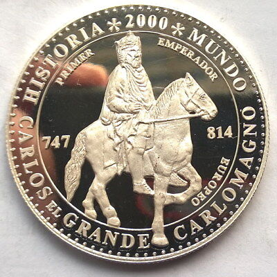 Equatorial Guinea 1997 Charlemagne 7000 Francs Silver Coin,Proof