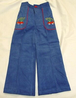 VINTAGE 1970's KIDS PRIMALTA STEAM TRAIN EMBROIDERED FLARED JEANS AGE 5-6 YEARS