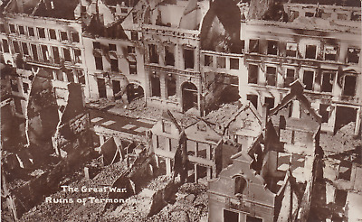 WW1 RPPC - Aerial Photo PC of the Ruins of Termonde in Belgium / Flanders