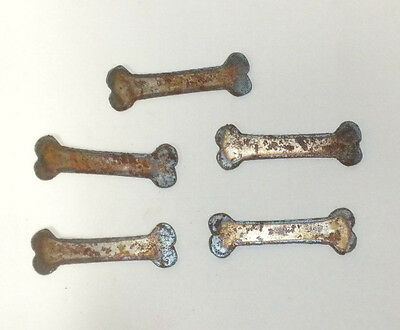 Lot of 5 Dog Bones 3 In Rough Rusty Metal Vintage Craft Stencil Ornament Magnet