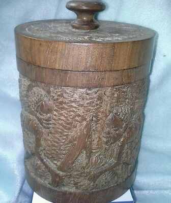 African wooden carved tobacco jar.