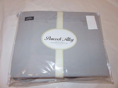 Peacock Alley 100% Egyptian Cotton Queen Matelasse Coverlet Set 3pc Grey Ruffled