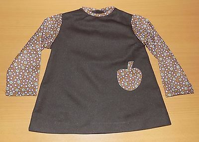 VINTAGE UNWORN 1970's GIRLS BROWN FLORAL APPLE PATTERNED DRESS AGE 18 MONTHS