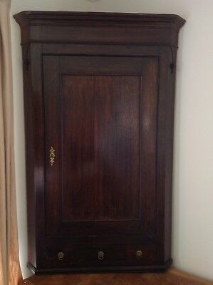 Large Antique Mahogany Corner Wall Cupboard