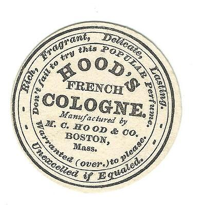 Old Trade Card Hood's French Cologne MC Hood Boston Used To Sample Druggists