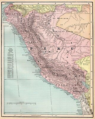1901 Antique PERU Map of Peru South America Original Vintage Map 4227