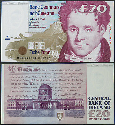 Replacement  BBB 1996 Ireland Irish £20 Pounds Banknote P.77r2, BYB.e160 UNC