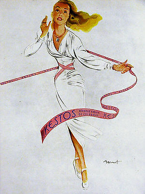 Brenot Spanish Advertising NYLON STOCKINGS 1930 Ad Matted