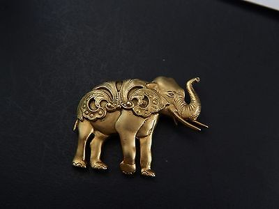"""Equisite Vintage Costume Gold Tone Caparisoned Elephant Brooch Pin Unsigned 2"""""""