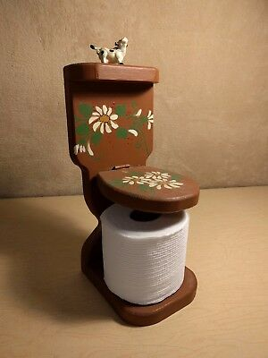 VTG Toilet Paper Roll Holder~Toilet~Wood~Wooden~Stand~Tole~Painted~Free Standing