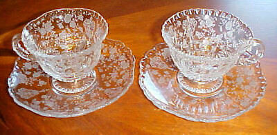 Pair Of Cambridge Glass Co Rose Point Cup & Saucers 3500/1 Pie Crust Edge