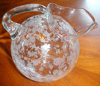 Cambridge Glass Co Rose Point Tilt Ball With Ice Lip Pitcher 3400/38