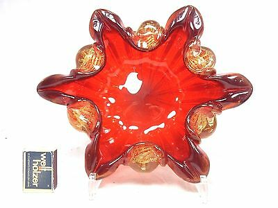 Beautiful Barovier & Toso Murano Cordonato d´oro glass vase Schale / bowl 25 cm