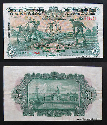 VF 1936 Currency Commission Ploughman Munster & Leinster £1 Pound P.20b,BYB.e17