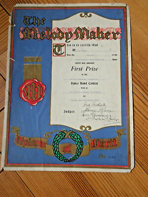 Louis Armstrong 1933 Autographed Signed Melody Maker Diploma Rare Early Jazz