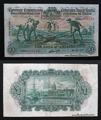 VF 1937 Currency Commission Ploughman Bank of Ireland £1 Pound P.8a