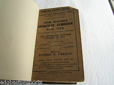 Wisden 1912 Rebind WITH BOTH WRAPPERS. (Warwickshire Champions 1911)