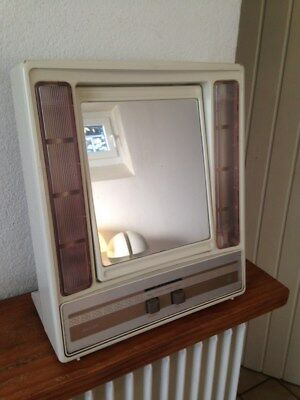 miroir lumineux reversible philips vintage 2 neons 2 miroirs normal / grossissan