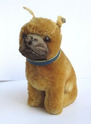 """Small Antique Vintage Steiff French Bulldog Bully With Button In Ear 4.5"""""""