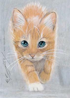 ACEO original pastel drawing ginger kitten by Anna Hoff