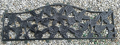 Large Vintage Cast Iron Wall Garden Decor Window Transom Roses Scroll Black