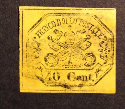 NOV 040 Italy - Italia VATICAN Papal State 40 Cent Coat of Arms USED w/ THINS