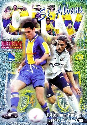 St Albans V Tottenham Hotspur  11th August 1998  ,  Pre-Season  match programme