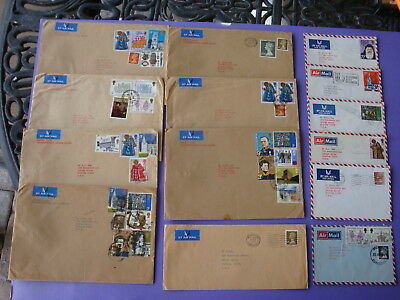 Lot of 14 Different 1970's UK British England Air Mail Envelopes With Stamps