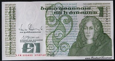 UNC 1989 Ireland Irish £1 Pound Queen Meab Banknote Pick# 70d