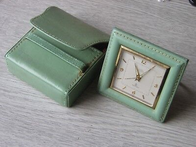Vintage Cyma 15 Jewel Travel Alarm Clock.  mid 20th Century. In Leather Case.