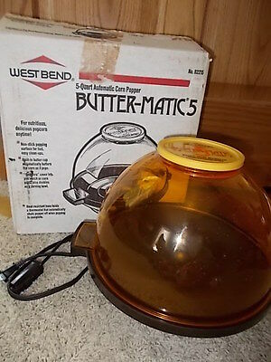 HTF Vintage West Bend Butter-Matic 5 Qt Corn Popper w/Butter Melter & BOX #82215