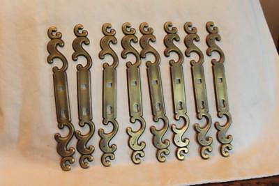 """8 Vintage Brass Door Plates 8 1/4"""" with Scroll Designs on Top & Bottom of Plate"""