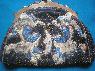 1930's Art Deco Chinese Black Silk Embroidered Bag.