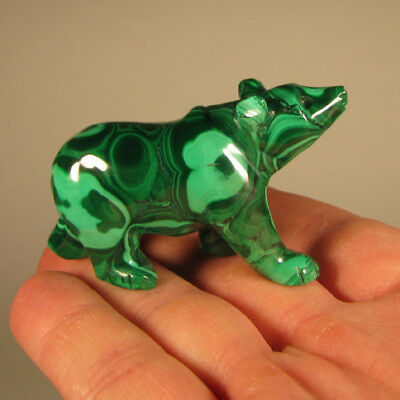 "2.4"" Handcarved MALACHITE BEAR Gemstone Animal Carving - Congo, Africa"
