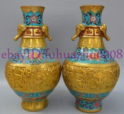 Collectibles Old Decorated Handwork Copper Cloisonne Elephant Ear Vase Pair