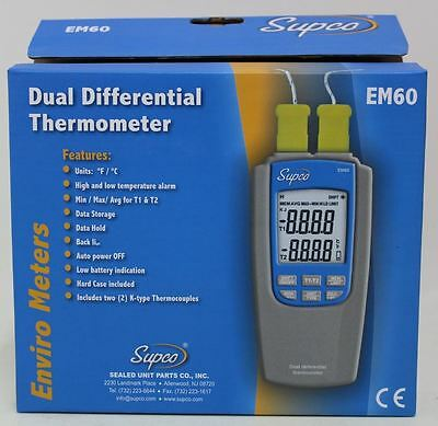 BNIB SUPCO EM60 Dual Differential Thermometer Hard Case K-Type Thermocouples Set