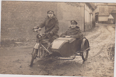WW1 RPPC - Two Royal Engineers in France on Douglas Motor Cycle and Side car