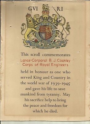 WW2 British Army Death Scroll Royal Engineers killed in 1940 with the BEF