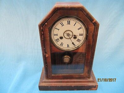 Vintage ~ Working Wood Cased Chiming  Mantle Clock with Glass Front Door