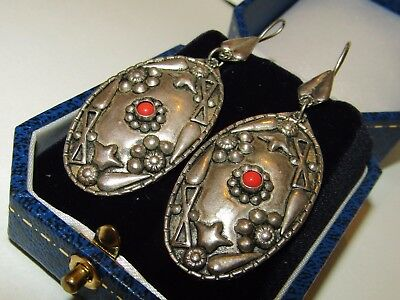 Long, Antique, Arts&crafts, Silver 1000, Etruscan Ornate Earrings With Coral