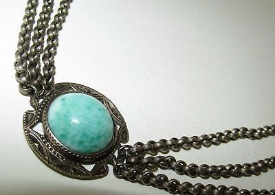 Fine, Antique, Arts & Crafts Old Sterling Silver Festoon Necklace With Agate?