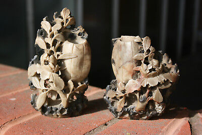 Antique Chinese Soapstone Hand Carved Flowers Ornament
