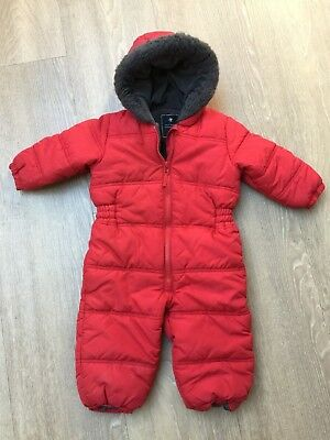 Baby Boys Red Next Snowsuit, Fleece Lined, Size 12-18 Months