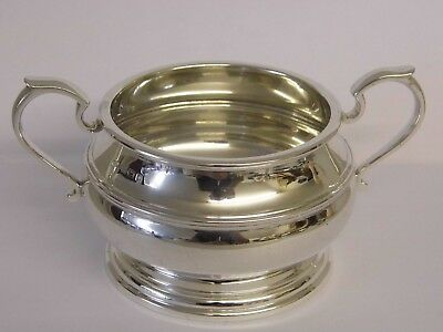 SUPERB LARGE SOLID STERLING SILVER TWIN HANDLED SUCRIER SUGAR BOWL 1931 241grams