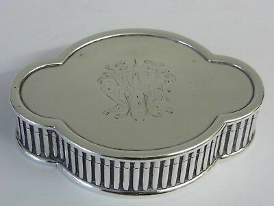 Stunning Rare Design Antique Edwardian Solid Sterling Silver Lidded Snuff Box