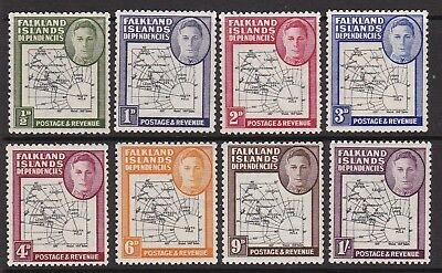 Falkland Islands Dependencies 1946 Kgvi Thick Maps Set Never Hinged  Mint