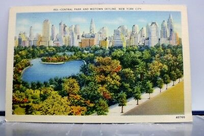 New York NY NYC Central Park Midtown Skyline Postcard Old Vintage Card View Post